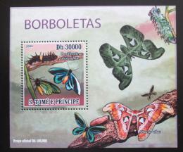 Poštovní známka Svatý Tomáš 2009 Motýli DELUXE Mi# 4109 Block