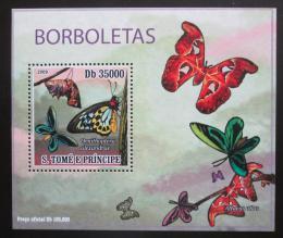 Poštovní známka Svatý Tomáš 2009 Motýli DELUXE Mi# 4111 Block