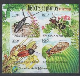 Poštovní známky Burundi 2012 Brouci neperf. Mi# 2535-38 B