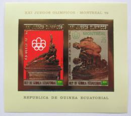 Poštovní známky Rovníková Guinea 1976 LOH Montreal, zlatá Mi# Block A 213 Kat 22€