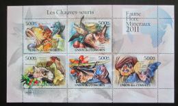 Poštovní známky Komory 2011 Netopýøi Mi# 3053-57 Bogen Kat 12€