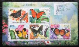 Poštovní známky Komory 2011 Motýli Mi# 2981-85 Kat 11.50€