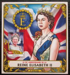 Poštovní známka Niger 2016 Královna Alžbìta II. Mi# Block 507 Kat 14€