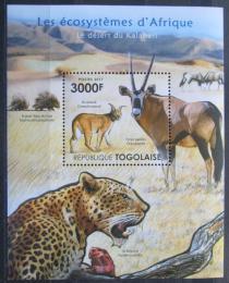 Poštovní známka Togo 2011 Fauna pouštì Kalahari Mi# Block 637 Kat 12€
