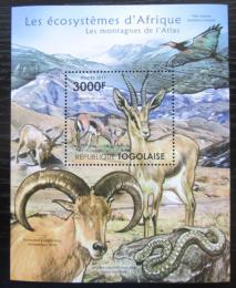 Poštovní známka Togo 2011 Fauna pohoøí Atlas Mi# Block 652 Kat 12€
