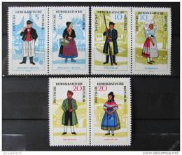 Poštovní známky DDR 1964 Lidové kroje Mi# 1074-79 Kat 60€