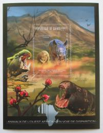 Poštovní známka Guinea 2012 Fauna západní Afriky,nosorožci Mi# Block 2079 Kat 18€