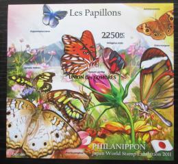 Poštovní známka Komory 2011 Motýli neperf. Mi# Block 619 B Kat 11€