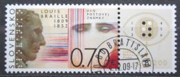 Poštovní známka Slovensko 2009 Den známek, Louis Braille Mi# 627