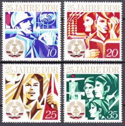 Poštovní známky DDR 1974 Vznik republiky, 25. výroèí Mi# 1949-52