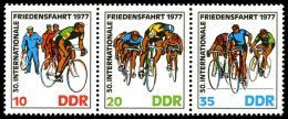 Poštovní známky DDR 1977 Závod míru, cyklistika Mi# 2216-18