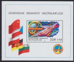 Poštovní známka DDR 1980 Vesmírný program Interkosmos Mi# Block 58