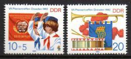 Poštovní známky DDR 1982 Setkání pionýrù v Drážïanech Mi# 2724-25