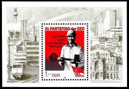 Poštovní známka DDR 1986 Sjezd SED Mi# Block 83