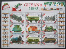 Poštovní známky Guyana 1992 Modely lokomotiv a vagónù Mi# 3916-24