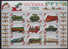 Poštovní známky Guyana 1992 Modely lokomotiv a vagónù Mi# 3925-33