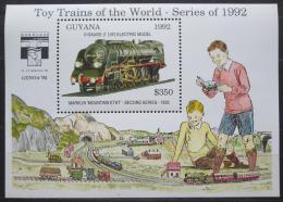 Poštovní známka Guyana 1992 Modely lokomotiv a vagónù Mi# Block 214 Kat 9.50€