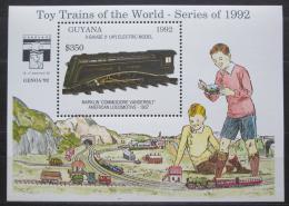 Poštovní známka Guyana 1992 Modely lokomotiv a vagónù Mi# Block 215 Kat 9.50€