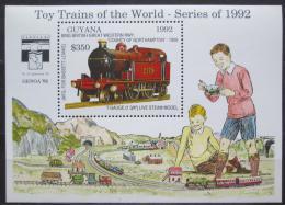 Poštovní známka Guyana 1992 Modely lokomotiv a vagónù Mi# Block 216 Kat 9.50€