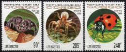 Poštovní známky Kongo 1994 Hmyz Mi# 1417-19 Kat 11€
