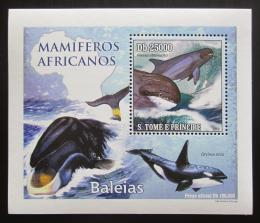 Poštovní známka Svatý Tomáš 2010 Velryby DELUXE Mi# 4471 Block