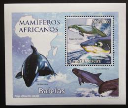 Poštovní známka Svatý Tomáš 2010 Velryby DELUXE Mi# 4472 Block