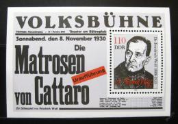 Poštovní známka DDR 1988 Friedrich Wolf, spisovatel a lékaø Mi# Block 96