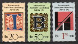 Poštovní známky DDR 1989 Umìlecké písmo Mi# 3245-47