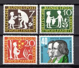 Poštovní známky Nìmecko 1959 Pohádky bratøí Grimmù Mi# 322-25 Kat 5€