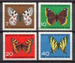 Poštovní známky Nìmecko 1962 Motýli Mi# 376-79