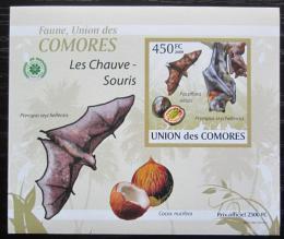 Poštovní známka Komory 2009 Netopýøi DELUXE neperf. Mi# 2456 B Block