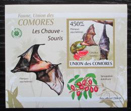Poštovní známka Komory 2009 Netopýøi DELUXE neperf. Mi# 2457 B Block