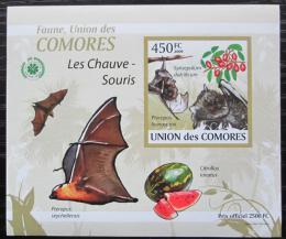 Poštovní známka Komory 2009 Netopýøi DELUXE neperf. Mi# 2459 B Block
