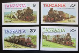 Poštovní známka Tanzánie 1985 Lokomotivy neperf. Mi# 268-71 B