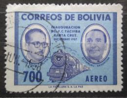 Poštovní známka Bolívie 1957 Lokomotiva a prezidenti Mi# 590