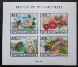 Poštovní známky Burundi 2013 Vèely a kvìtiny neperf. Mi# 3288-91 B Bogen