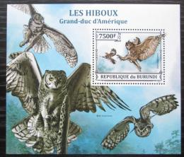 Poštovní známka Burundi 2013 Sovy Mi# Block 389 Kat 9€