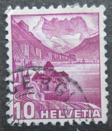 Poštovní známka Švýcarsko 1936 Zámek Chillon na Ženevském jezeøe Mi# 299