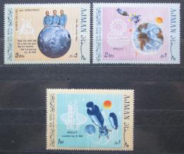 Poštovní známky Adžmán 1969 První let na Mìsíc Mi# 466-68 Kat 6.50€