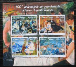 Poštovní známky Svatý Tomáš 2019 Umìní, Pierre-Auguste Renoir Mi# N/N