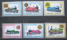 Poštovní známky Adžmán 1972 Lokomotivy neperf. Mi# 1850-55 B Kat 10€