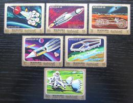 Poštovní známky Manáma 1970 Prùzkum Mìsíce, Apollo 13 Mi# 291-96