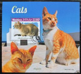 Poštovní známka Maledivy 2019 Koèky Mi# N/N
