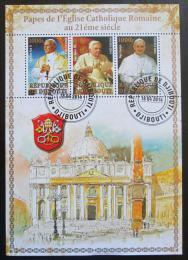 Poštovní známky Džibutsko 2014 Papeži, zlaté písmo Mi# N/N
