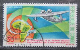 Poštovní známka Kongo 1967 Letadlo a mapa Mi# 142