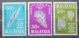 Poštovní známky Malajsie 1965 Sport Mi# 27-29