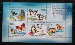 Poštovní známky Komory 2011 Motýli Mi# 2971-75 Bogen Kat 10€