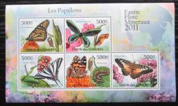 Poštovní známky Komory 2011 Motýli Mi# 2986-90 Kat 12€