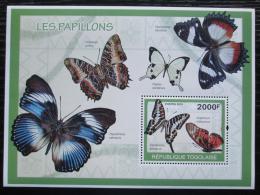 Poštovní známka Togo 2010 Motýli Mi# Block 492 Kat 8€