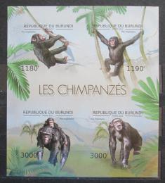 Poštovní známky Burundi 2012 Šimpanzi neperf. Mi# 2853-56 B